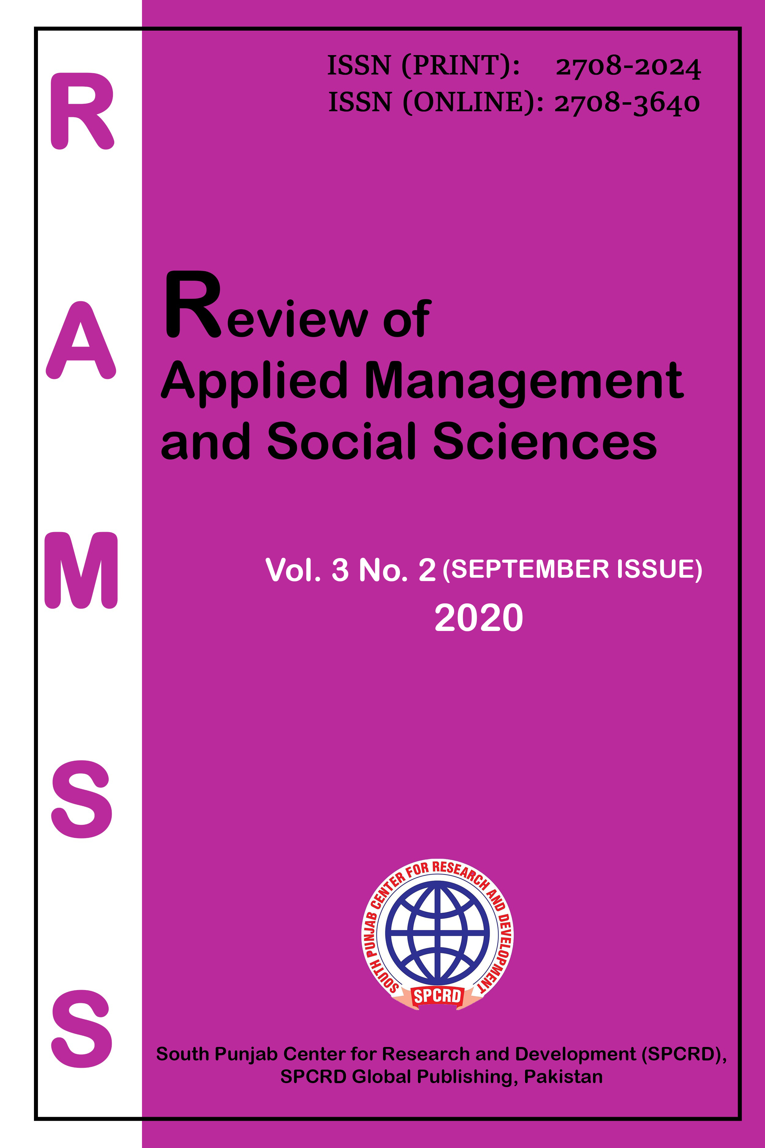 View Vol. 3 No. 2, September (2020): Review of Applied Management and Social Sciences